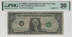 1969 B $1 FEDERAL RESERVE NOTE NEW YORK SOLID 1 SERIAL B11111111B PMG VF 20