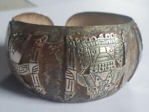 Massif manchette imposant Bracelet Argent ethenique 38cm solid silver