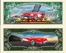 1960 Red Corvette Collectible Dollar Bill Fake Play Funny Money Novelty Note