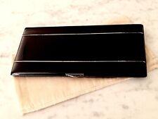 Vintage BLACK ENAMEL CIGARETTE CASE - Napier / plated / Signed           (5F14)
