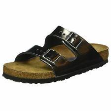 Birkenstock Arizona Metallic Anthracite Leather Womens Narrow Strap Sandals