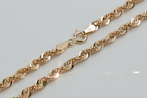 Russian rose pink Soviet 14k 585 gold Rope Lady diamond chain cc019 low price!