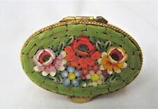 Oval Italian Micro Mosaic Millefiori embossed brass hinged covered pill box