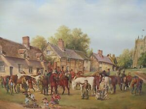 OIL  A HUNTING WE DO GO  ARTIST R M CROMPTON  1930,S FREE SHIPPING ENGLAND