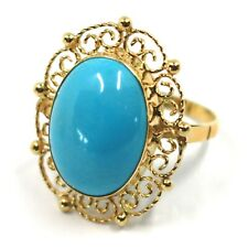 18K YELLOW GOLD RING, CABOCHON OVAL TURQUOISE WORKED FLOWER FRAME, MADE IN ITALY