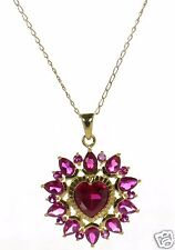 David Sigal Gold Over Solid 925 Sterling Silver Pink & Red Heart Necklace '