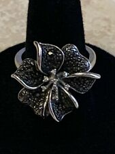 Silver Diamond Flower Cocktail Ring Size 7