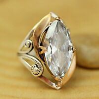 925 Sterling Silver Handmade Antique Turkish Zircon Ladies Ring Size 6-12