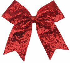 Sequins Cheer Christmas hair bow clip(Red)