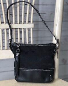 COACH 1523 Black Signature Leather Mini / Small Hobo Shoulder Handbag Purse RARE