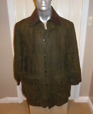 CLASSIC BARBOUR BORDER A200 OLIVE WAX COTTON JACKET C40, READ THE SIZE INFO !!!