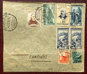 1950 AFFRANCATURA GEMELLARE+COMM+IT.LAV. +DEMOCR. VIA AEREA CON ANNULLI PART/ARR