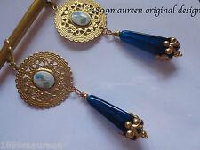 Art Nouveau Art Deco earrings Edwardian vintage stye blue cameo drop LONG