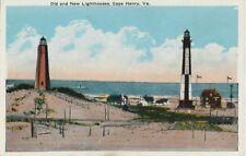 Old Postcard - Old & New Lighthouses - Cape Henry VA