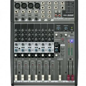 PHONIC AM 1204 FX MIXER AUDIO 8 CANALI USB BLEUTOOTH NUOVO GARANZIA UFFICIALE