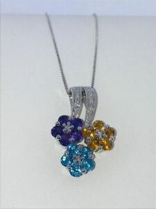 14kt White Gold Pendant With Amethyst, Citrine, Blue Topaz & Diamond On Chain.