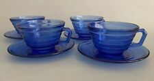 "Hazel Atlas Moderntone Depression Glass Cobalt Blue 11"" Cups and Saucers"