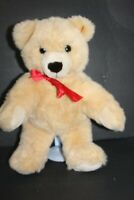 "Steiff Bear Molly Tan Cream Plush Bear Teddy Bear Red Bow 18"" Tall"