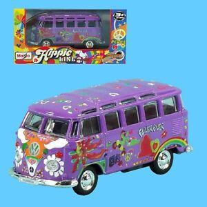 Maisto Hippie Line VW Bus T1 Samba Pull Back Viloett 12cm