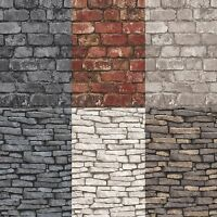 Fine Decor/Debona Rustic Brick & Slate Effect Pannel Wallpaper 10m 14 Colours