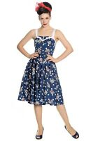 Hell Bunny Oceana Vintage Retro 50s Rockabilly Nautical Navy Sailor Flare Dress