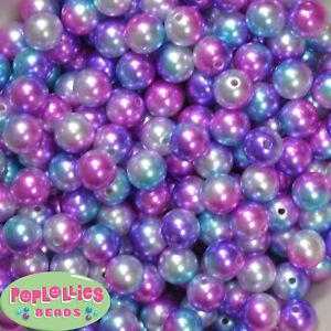 12mm Jewel Tone Multicolor Acrylic Faux Pearl Bubblegum Beads Lot 40 pc.gumball
