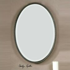 Uttermost Sherise Beaded Metal Oval Wall Mirror in Light Distressed Bronze
