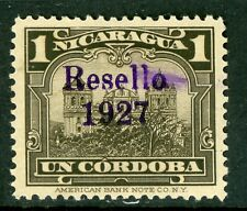 Nicaragua 1927 Cathedral Provisional 1 Cordoba w/Ditto Ink OP MNH  V191 ⭐