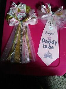 Baby shower  Mommy To Be Corsage and Daddy To Be Tie  for For the Princess to be