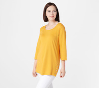 Denim & Co. Women's Sz 1X Scoop-Neck 3/4-Sleeve Tunic Gold Yellow  - NWT