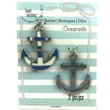 Bead Landing Anchor Metal Charm Set 2 Pendants New Blue White Silver Oceanside