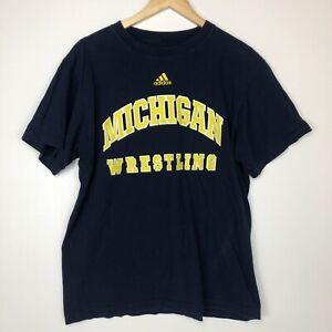 Adidas Michigan USA Wrestling Mens Navy Blue T Shirt Size Large Big Logo Tee Gym