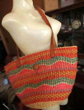Vtg Woven Hemp Straw Basket Shoulder Bag Satchel Hobo Tote w/ Leather Straps