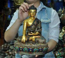 "11""Tibet bronze Silver Filigree Inlay Turquoise Sakyamuni Medicine Buddha Statue"