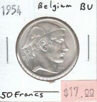 Belgium 50 Francs 1954 Silver UNC Uncirculated