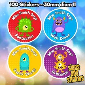 100 Personalised School Teachers Children Parents Well Done Reward Sticker Label