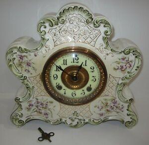 Antique Ansonia Dresden No. 488 Porcelain Clock 8-Day, Time/Strike, Key-wind