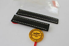 100% Genuine New OEM Breitling Black Calf Leather Deployment Strap 20-18mm