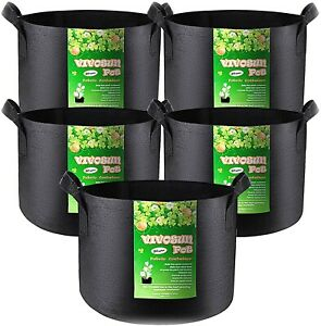 VIVOSUN 5-Pack 30 Gallons Heavy Duty Thickened Non-woven Fabric Pots Grow Bags