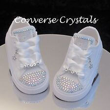 9aa212aa0a82 Personalised Mono White Custom Crystal  Bling  Converse Infant sizes 2-10