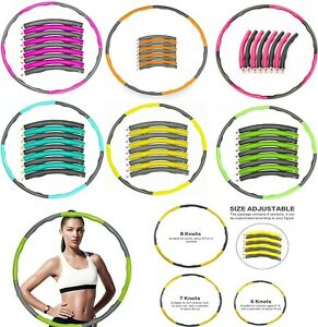 1KG Weighted Collapsible Hula Hoop Padded Abs Exercise Gym Workout Abdominal UK