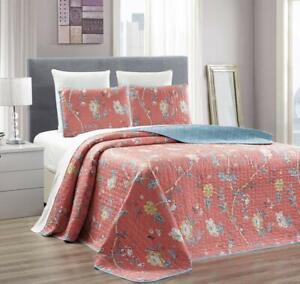 "3-Piece Twin/Twin XL (66"" X 95"") Quilt Set Micromink Velvet Bedspread Coverlet F"