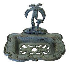 Palm Tree Soap Dish Holder Cast Iron Green Antiqued Finish