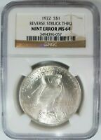 1922 Silver Peace Dollar NGC MS 64 Struck Thru Reverse Strike Through Error