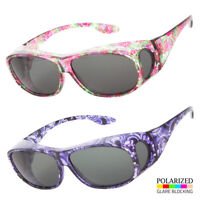 POLARIZED Rhinestone cover put over Sunglasses wear Rx glass fit driving LARGE