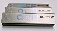 3 Packs Authentic OCB Silver X-PERT Slim Fit Rolling Papers + Tips