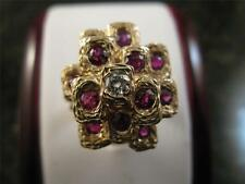 Vintage 14k Solid Yellow Gold Garnet And Diamond Ring Size 6