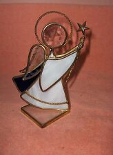 Art Glass Crystal Stained Glass Angel Blue & White Star Signed Terry '88