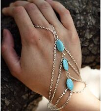 Finger Ring Slave Hand Harness Alloy Chain Charm Interweave Turquoise Bracelet