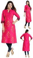 Women Indian Cotton Silk  Kurti Tunic Kurta Top Formal Shirt Dress Pink  MM213